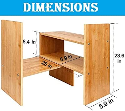 Callas Adjustable Wood Desktop Storage Organizer Display Shelf Rack | Spice Rack | Counter Top Bookcase Book Shelf | Home Décor Display & Storage Rack Cabinet Unit | CA-BS1 (Bavarian Beach)