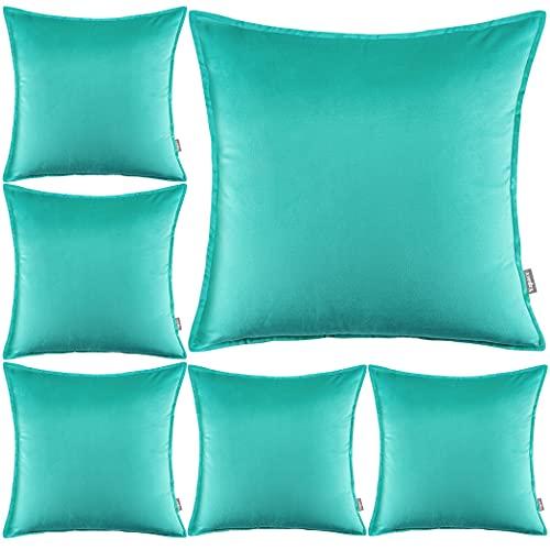 Yzpacc Juego de 6 fundas de almohada de terciopelo con bordes a medida decorativos cuadrados para sofá cama (45 x 45 cm) (solo fundas de almohada, sin relleno), color azul