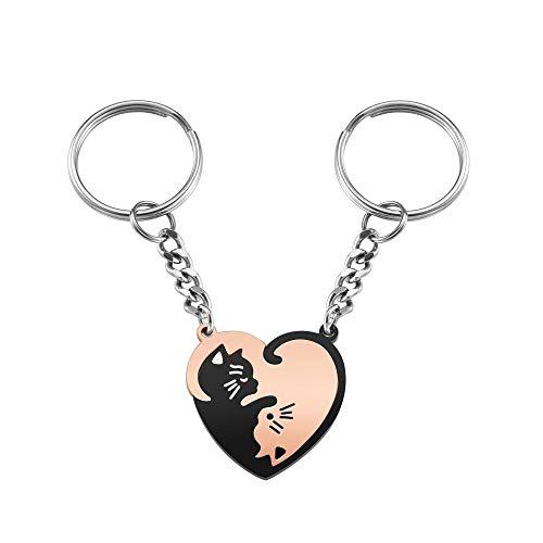 JSDDE 2 llaveros de gato Yin Yang de acero inoxidable, diseño de puzle Taichi para parejas