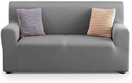 APLUS1 Funda para sofá antimanchas y antideslizante, de tela lisa (97 % poliéster y 3 % elastano), color gris, para sofá de 2 plazas de 130 a 180 cm de profundidad hasta 70 cm)