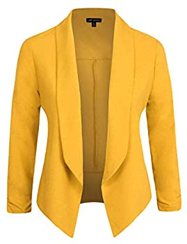 Michel Womens 3/4 Sleeve Lightweight Open Front Blazer Business Casual Work Office Cardigan Jacket with Plus Size Mustard S