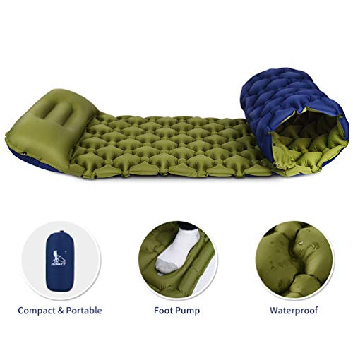 RUNACC Isomatte Camping Selbstaufblasbare, Aufblasbare Ultraleicht Luftmatratze Camping Matratze Outdoor Luftbett für Camping, Reise, Outdoor, Wandern, Strand(Grün&Blau)