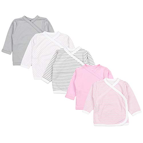 TupTam Unisex Baby Langarm Wickelshirt 5er Set, Farbe: Mädchen 4, Größe: 62