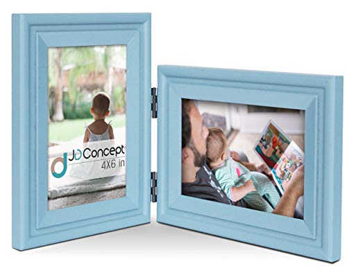 Vertical Horizontal Combo, Double 4x6 Soft-Blue Wood Hinged Photo Picture Frame, Desktop or Wall Mounted, Portrait and Landscape View
