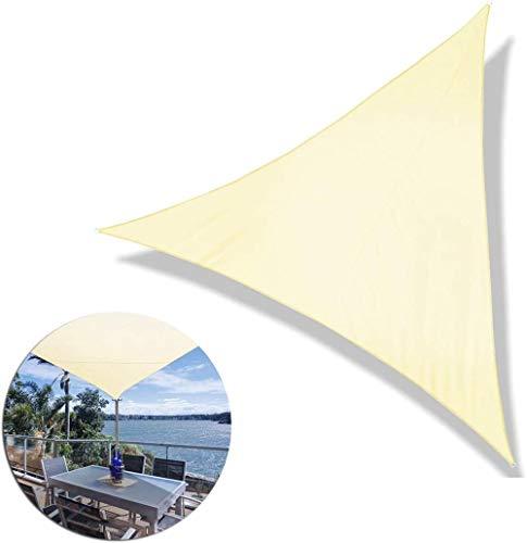 Skpshade Vela de Sombra 5×5×5m Triángulo con Cuerda Libre y Kit de MontajeProtección UV Patio Exteriores Beige Claro