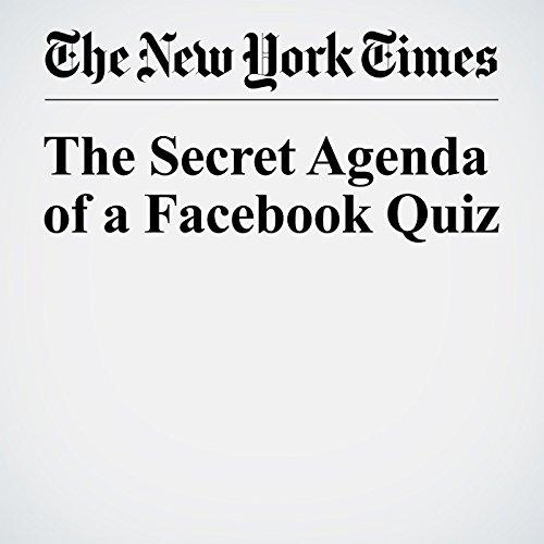 The Secret Agenda of a Facebook Quiz audiobook cover art