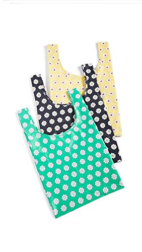 BAGGU Standard Reusable Shopping Bag, Ripstop Nylon Grocery Tote or Lunch Bag, Daisy Set of 3
