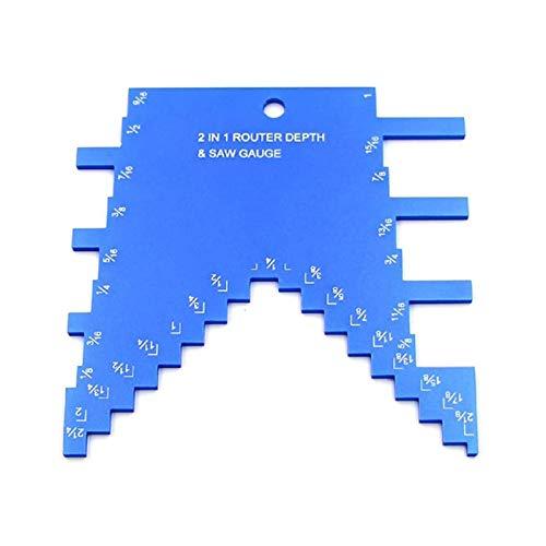 Medidor de profundidad de paso, medidor de altura de profundidad para fresador y sierra de mesa, aleación de aluminio para carpintería de máxima claridad, medidor de profundidad, regla portátil