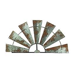 Special T Imports Galvanized Metal Half-Windmill Wall Sculpture (30)
