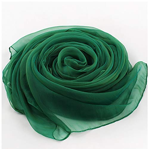 ZCX Solid Color Silk Scarf Female Silk Scarf Thin Scarf Wild Spring Autumn Ginger Large Shawl Scarves (Color : Emerald green)