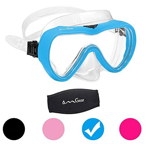 OMGear Tauchmaske Schnorchelausrüstung Kinder Erwachsene Schnorchelmaske Taucherbrille Silikon Schwimmbrille mit Nasenabdeckung für Tauchen, Spearfishing Neoprenband Stoßfestigkeit (Aqua)