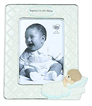 Precious Moments Baptized In His Name Bisque Porcelain Photo Frame Boy 143401