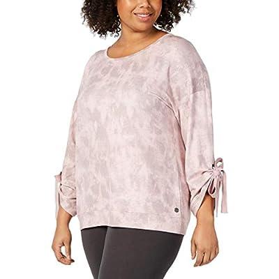 Ideology Womens Plus Marled Yoga Sweatshirt Pink 3X