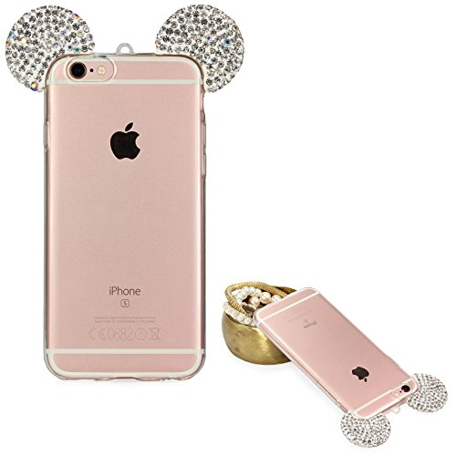 Custodia compatibile con Apple iPhone 6 Plus / 6s Plus Orecchie Topolino Cover Silicone Trasparente Morbida con Laccio, Back Case con Strass Brillantini Femminile Donna - Agento
