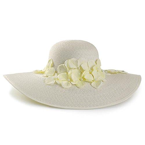WYYY Chapeau Dame Chapeau De Soleil Pétales Fabriqué À La Main Par Le Travers Protection Contre Le Soleil ( Couleur : Blanc )