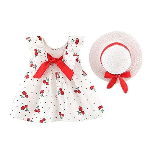 Xmiral Baby Kinder Mädchen Ärmellos Kirschpunkt Gedruckt Bogen Prinzessin Kleid & Hut Outfits Kleinkind Kind Sommer Beachwear Sommerkleid(Rot,6-12 Monate)