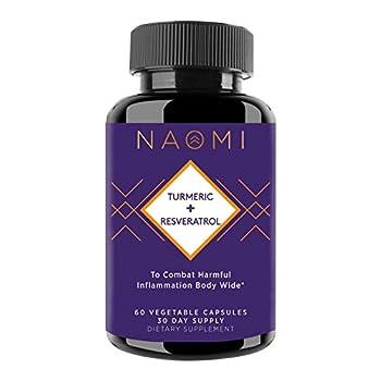 Naomi Turmeric + Resveratrol with Curcumin- Anti-Aging and Anti-Inflammatory Support - High Potency Turmeric and Resveratrol - 60 Count