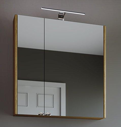 Planetmöbel Spiegelschrank Badezimmer WC Badezimmerschrank 64cm breit (Sonoma Eiche)