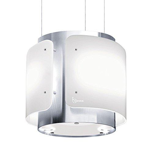 Baraldi Appese Cappa da Cucina Dessy 40 cm, 800 m3/h, Vetro, Bianco/Acciaio