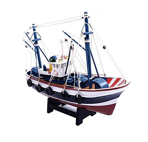 XIUYU Velero de Madera Diecast Modelo, Madera Armada Igualdad de Color Modelo del Barco de Pesca, coleccionables for Adultos y Regalos, 12.6Inch X 9.8Inch