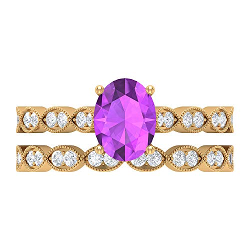 2.11 CT Lab Created Kunzite Ring, HI-SI Diamond Bridal Ring Set, 8X6 MM Oval Shaped Engagement Ring, Solitaire Ring With Side Stone, 18K Yellow Gold, Size:UK L