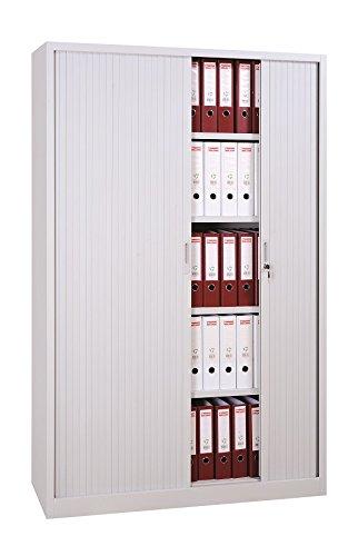 Großer Querrollladenschrank weiß Stahl Büro Aktenschrank Rollladenschrank weiß 555167 (HxBxT) 1950 x 1200 x 460 mm kompl. montiert und verschweißt