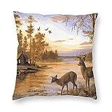485 Deer Safair In Stream River At Forest Sunset Throw Pillow Case Decorativa Fundas Cojín Personalizado Fundas De Almohada para Sofá Cama Familia 45X45Cm