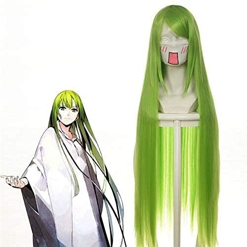 Code Geass C.C Empress Peluca Cosplay Disfraz 80 cm verde largo recto resistente al calor fibra pelo peruca anime Pelucas 036Q (color: 036Q)