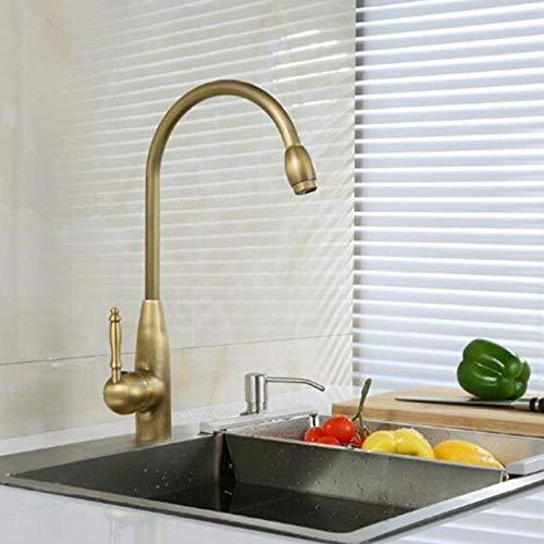 Grifos de cocina de latón antiguo, 3 tipos de baño, grifo giratorio de 360 grados, manija única/agujero, grifos mezcladores para fregadero de agua caliente fría