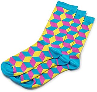 ToeTrends Men's designer bamboo socks - 1 pair - Sexy, Bold, Comfortable & Naturally anti-bacterial (Yellow Pink Funky)