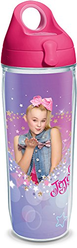 Tervis 1292915 Nickelodeon-Jojo Siwa Heart Tumbler with Wrap and Passion Pink Lid, 24oz Water Bottle, Clear