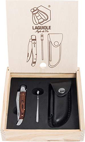 Laguiole Style de Vie Taschenmesser mit Wetzstahl & Ledertasche, Rosenholz, mit Geschenkbox