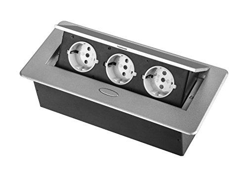 Einbausteckdose 3-fach Tischsteckdose silber