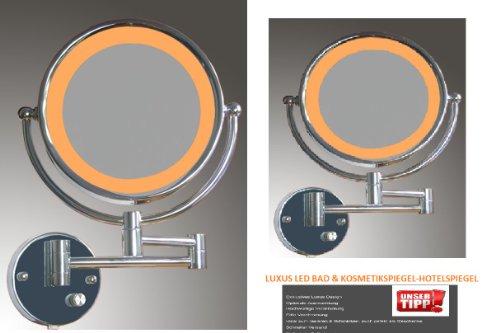 WEIHU Hochwertiger LED Hotel- & Kosmetikspiegel -Badspiegel-Hotelspiegel-mit 3 Fach Gelenkarm und Normalansicht und 10-Fach Zoom und 1:1 Ansicht