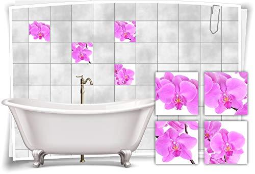 Medianlux Adhesivo para azulejos de baño SPA Wellness Orquídea Morado Flores Morado Flores Baño Decoración 10 x 10 cm fp5p608q-136123