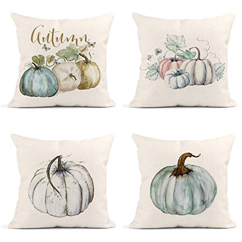 Britimes Throw Pillow Covers Fall Home Decor Set of 4 Pillow Cases Decorative 18 x 18 Inches Outdoor Cushion Couch Sofa Pillowcases Autumn Watercolor Pumpkins
