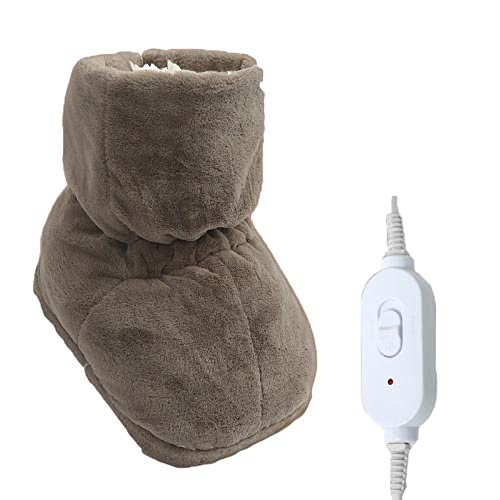 Y-PLAND Calentador de pies Regular, Zapatos con calefacción eléctrica enchufables, Zapatos de algodón con calefacción, pies Calientes en Invierno-marrón_33X25CM
