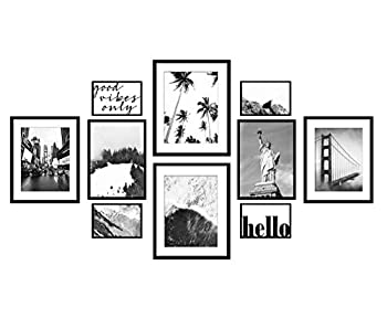 ArtbyHannah 10 Pack Classic Black Gallery Wall Frame Set with Decorative Landscape Art Print Picture Frame Collage Set Wall Art Decor for Home Decoration Multi Size 12x16,9.5x12,8x9.5,4x6