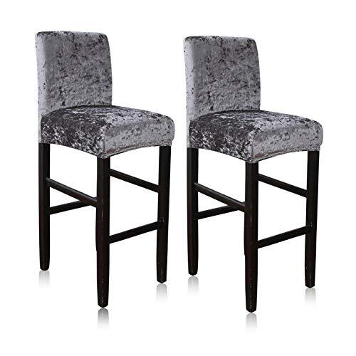 BANGSUN Fundas elásticas para taburetes de bar, altura lateral, 2 unidades, color gris oscuro