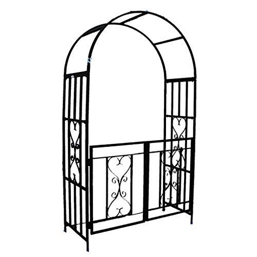 RuBao Dekorativer Metall-Gartenbogen mit Tor, Gartenterrasse Rosenbogen-Hochzeitsornament-Laube-Pergola für Kletterpflanzen im Freien Torbogen-Gitterunterstützung