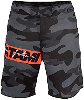 Tatami Fightwear Red Bar Camo Fight Shorts Men's Pantalone Cortos Hombre BJJ MMA Boxeo Grappling Fitness No Gi Kickboxing