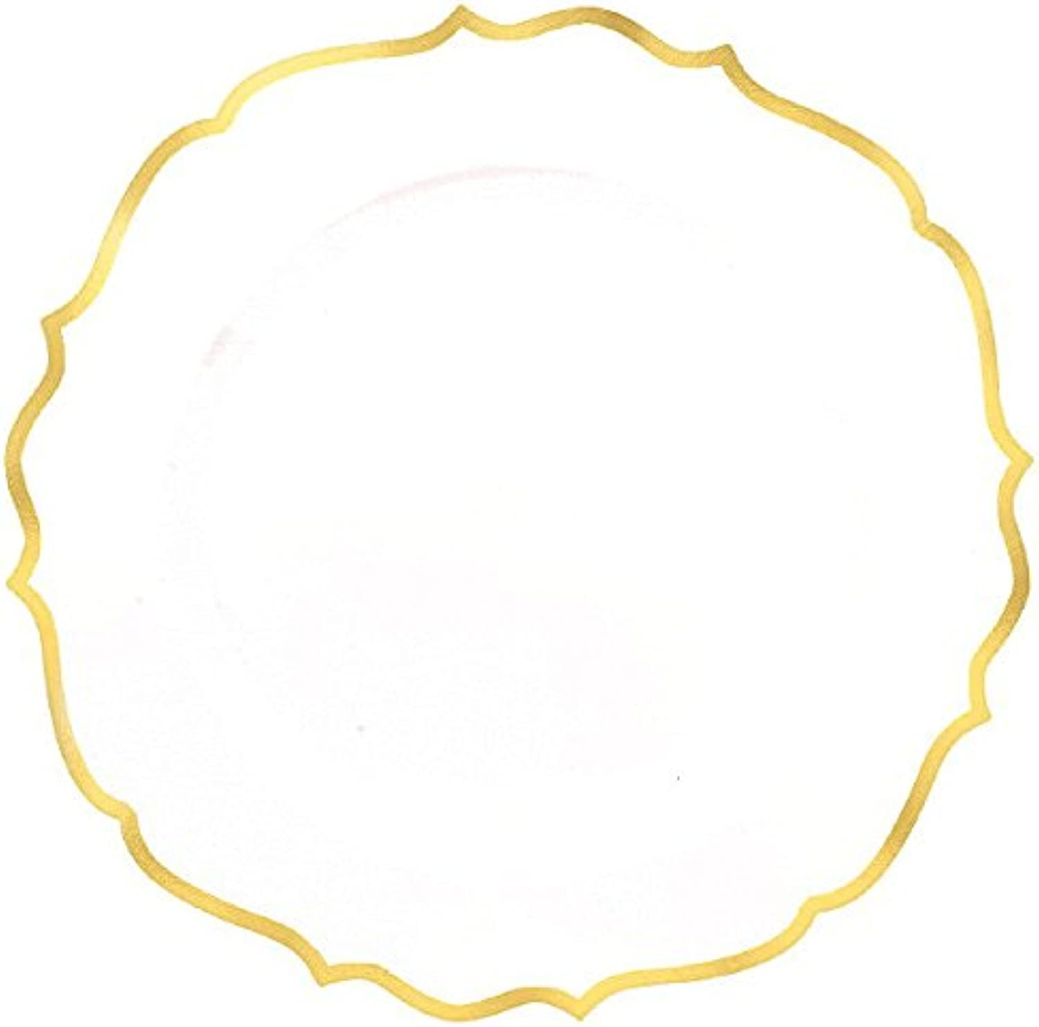 Amscan 430573 Disposable Plate, Ornate Premium Plastic Plates w  gold Trim, gold, 7 3 4 , 20ct