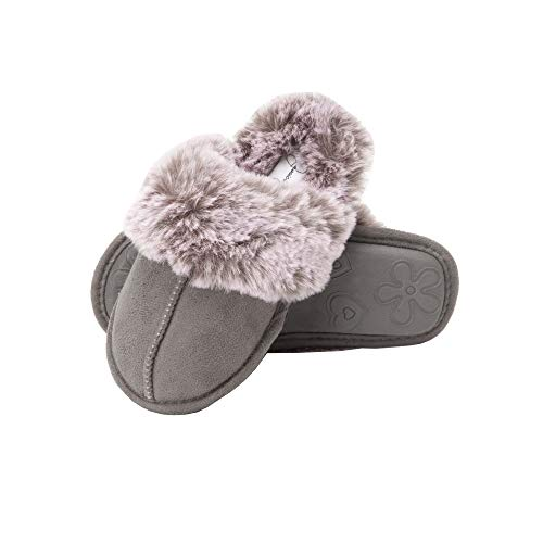 Jessica Simpson Girls Comfy Slippers - Cute Faux Fur Slip-on Shoes Memory Foam House Slipper, Grey, Large