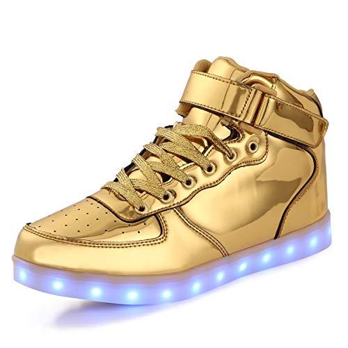 FLARUT 7 Farbe USB Aufladen LED Leuchtend Leuchtschuhe Blinkschuhe Sport Schuhe für Jungen Mädchen Kinder(28 EU,Gold)