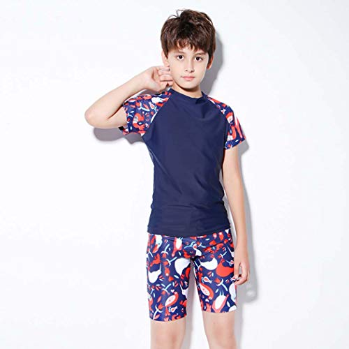LYF Boy - Traje de baño de secado rápido para niños con protector solar UV, traje de playa suave, talla XL