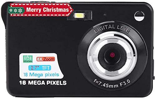Digitalkamera COMS Sensor 18MP, HD Digitale Videokamera Kompaktkamera mit 8-Fach Zoom, 2,7 Zoll Bildschirm, USB 2,0, Eingebautem Lautsprecher, Batterie Betriebene für Senioren/Kinder(Schwarz)