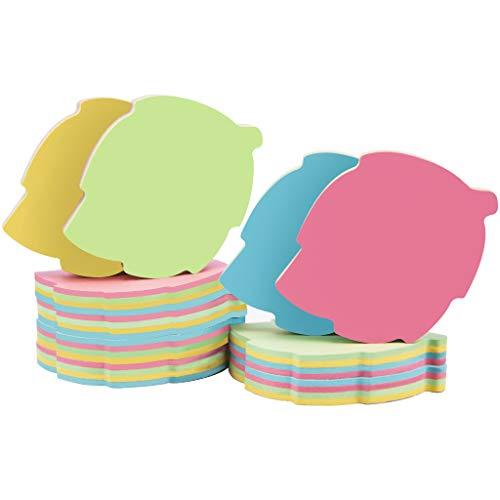 Blocchetti memo adesivi a forma di foglia - 10 cuscinetti 76x76mm Self Stick Post Memo Carino colore misto per ufficio/casa/cucina/cottura/scuola vendite in serie 1000 fogli totale