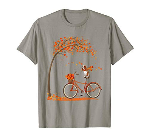 Cavalier King Charles Spaniel in fall, dog riding bicycle T-Shirt