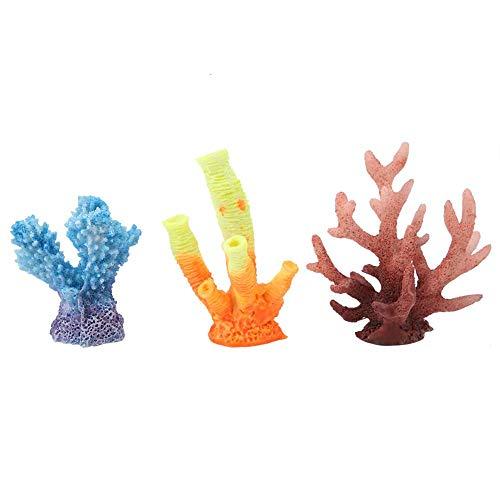 Atyhao 3pcs Acquario Ornamento di Corallo Artificiale, Resina Artificiale pianta acquatica Simulazione Erba Subacquea Decorazione del Paesaggio per Ac