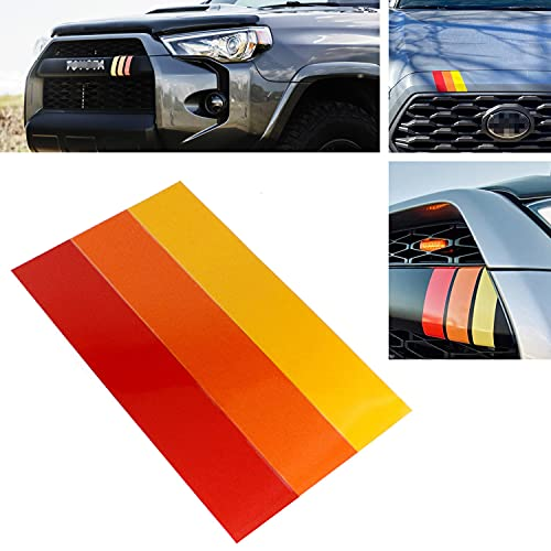 iJDMTOY 10-Inch Classic Retro Style Tri-Color Stripe Decal Sticker Compatible With Toyota/Lexus Exterior or Interior Decoration Grille Fender Hood Side Skirt Bumper Side Mirror Dashboard, etc